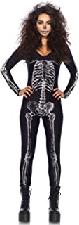 Women's X-Ray Skeleton Catsuit Costume with Zipper Back