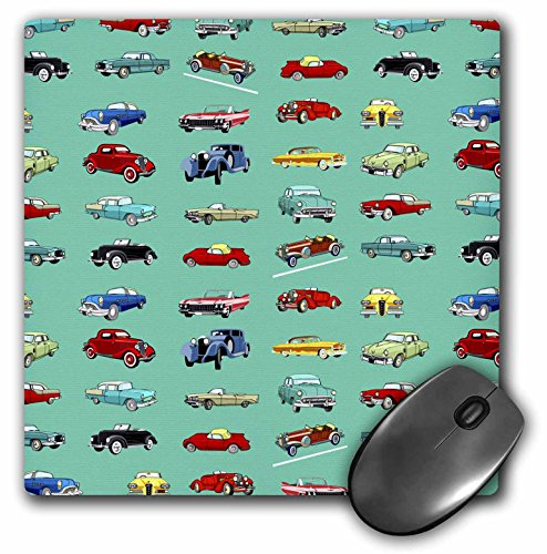3dRose LLC 8 x 8 x 0.25 Inches Retro Cars on Turquoise Mouse Pad (mp_56062_1)