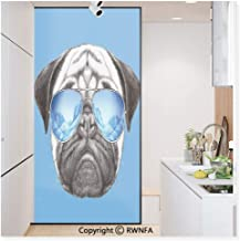 RWN Film Removable Static Decorative Privacy Window Films Pug Portrait with Mirror Sunglasses Hand Drawn Illustration of Pet Animal Funny for Glass (17.7In. by 78.7In),Pearl Blue Black
