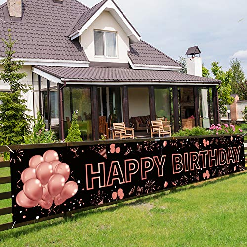 Pimvimcim Happy Birthday Banner Decorations, Large Birthday Party Sign Supplies for Women Girls, Rose Gold Birthday Decor Backdrop Photo Booth for Yard Indoor Outdoor(9.8x1.6ft)