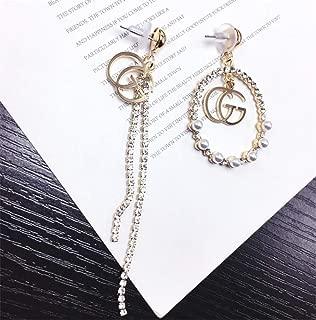 18K Yellow Gold Plated Vintage Dangle GG Earrings Swarovski Crystal White Pearl Rhinestones Dangle Initial Charms Hoops for Women Girls (5)
