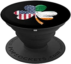 IRISH US FLAG - Ireland Shamrock St Patricks Day - PopSockets Grip and Stand for Phones and Tablets