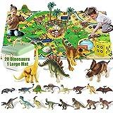 Dinosaur Toys, 20 Realistic Dinosaur Figures with 47x31 Inch Large Flight Chess Mat, Educational Realistic Dinosaur...