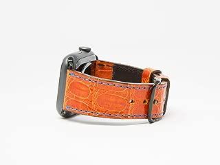 Orange Caiman Leather Apple Watch Band Blue Stitching Handmade Apple Watch Strap 38mm - 44 mm All Series