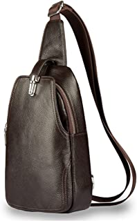 Large Capacity Crossbody Packet  for Travel Hiking Working School Business Cycling Men Genuine Leather Casual Shoulder Handbag Sturdy (Color : Coffee Color)