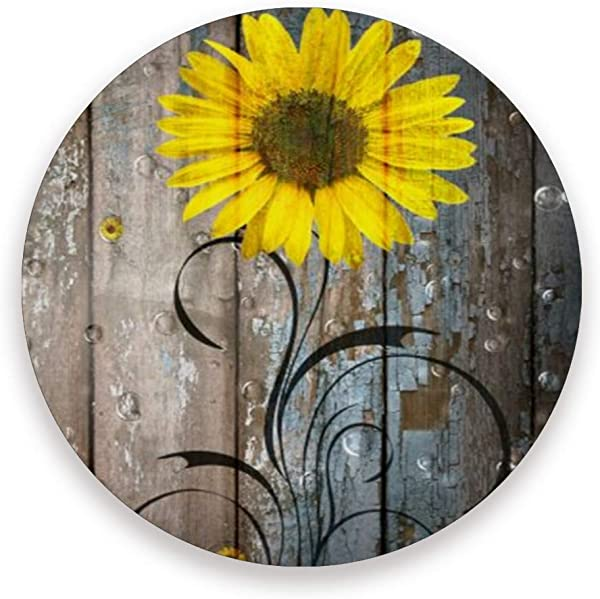 Rustic Sunflowers Farmhouse Ceramic Coasters For Drinks Round 4 Piece Coaster Set