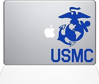 "The Decal Guru USMC Logo Macbook Decal Vinyl Sticker  - 15"" Macbook Pro (2016 & newer) - Dark Blue (1302-MAC-15X-DB)"