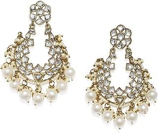 Zaveri Pearls Ethnic Dangler Earrings for Women (Golden) (ZPFK7624)