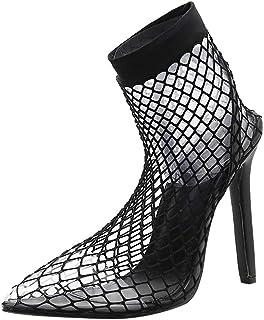 Femme Pointu Boots ÉTé Maille De Dentelle Talons Hauts Escarpins Bride Cheville Talon Haut Aiguille Femme Sexy SoiréE Chau...