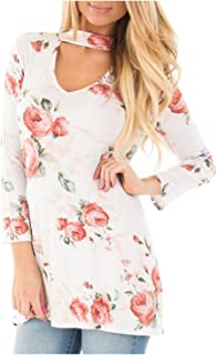 Aifer Womens Hollow Printed Shirts Long Sleeve V Neck Tunic Tops Irregular Hem Casual Blouse