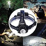CjnJX-Vases Reflector LED, Reflector telescópico Recargable, lámpara de Cabeza con Zoom de Largo Alcance T6, lámpara de minero, lámpara de Pesca, Gran Capacidad de Largo Alcance