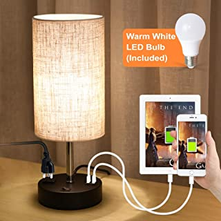 Lamp USB Lifeholder، لامپ جدول با چراغ سفید سفید گرم، لامپ نایت لایت Bedside ساخته شده در دو پورت USB و خروجی برق، لامپ میز کامل ایده آل برای اتاق خواب، اتاق نشیمن و یا دفتر (دور)