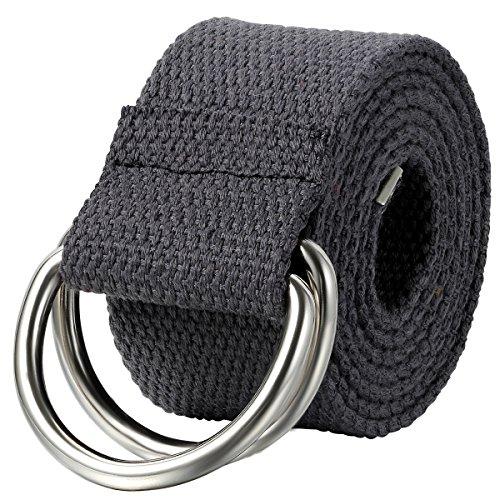 JewelryWe Schmuck Herren Damen Stoffgürtel, Einfarbig Casual D-Ring Yoga Leinwand Textilgürtel Stricken Canvas Web Gürtel Belt, Grau