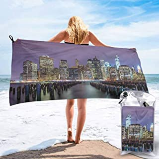 "Ahuimin Microfiber Beach Towel, New York City,Manhattan Skyline, 27.5"" x 55"" Super Absorbent Quick Fast Drying Soft Eco-Friendly Towels for Body Bathroom Travel"