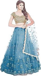 Women's Turquoise Florence Net Semi-stitched Lehenga Choli