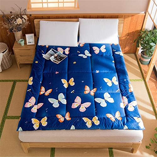 Printing Japanese Mattress Pad Silent Super Soft Fabric Non-slip Foldable Tatami Futon Floor Mat Thicken Breathable Double Single Pad for Adult Child B-120x200cm(47x79inch)
