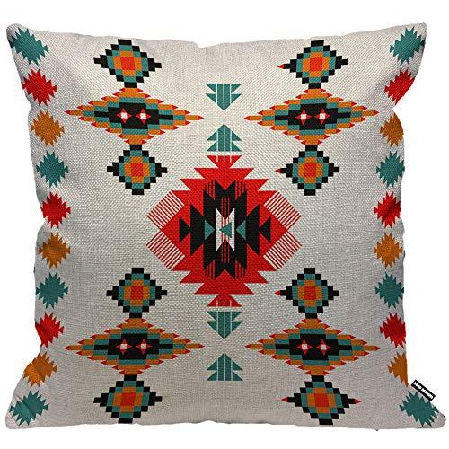 HGOD DESIGNS Kissenbezug Navajo Azteke Blau Rot Orange Kissenhülle Haus Dekorativ Für Männer/Frauen/Jungen/Mädchen Wohnzimmer Schlafzimmer Sofa Stuhl Kissenbezüge 45X45cm