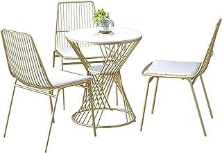 QYAN Silla de Metal de Comedor Interior-Exterior Uso de sillas y mesas (3 sillas de Hierro Forjado + Hierro Forjado Mesa de Centro), Apto for Restaurante Cocina casera de la Sala de Estar 1218