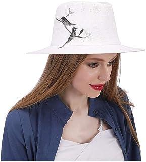 JAUROUXIYUJIN Women's Fedora Hat with Hand-Drawn Bird Summer Panama Hat Sun Hat (Color : White, Size : 57-58cm)