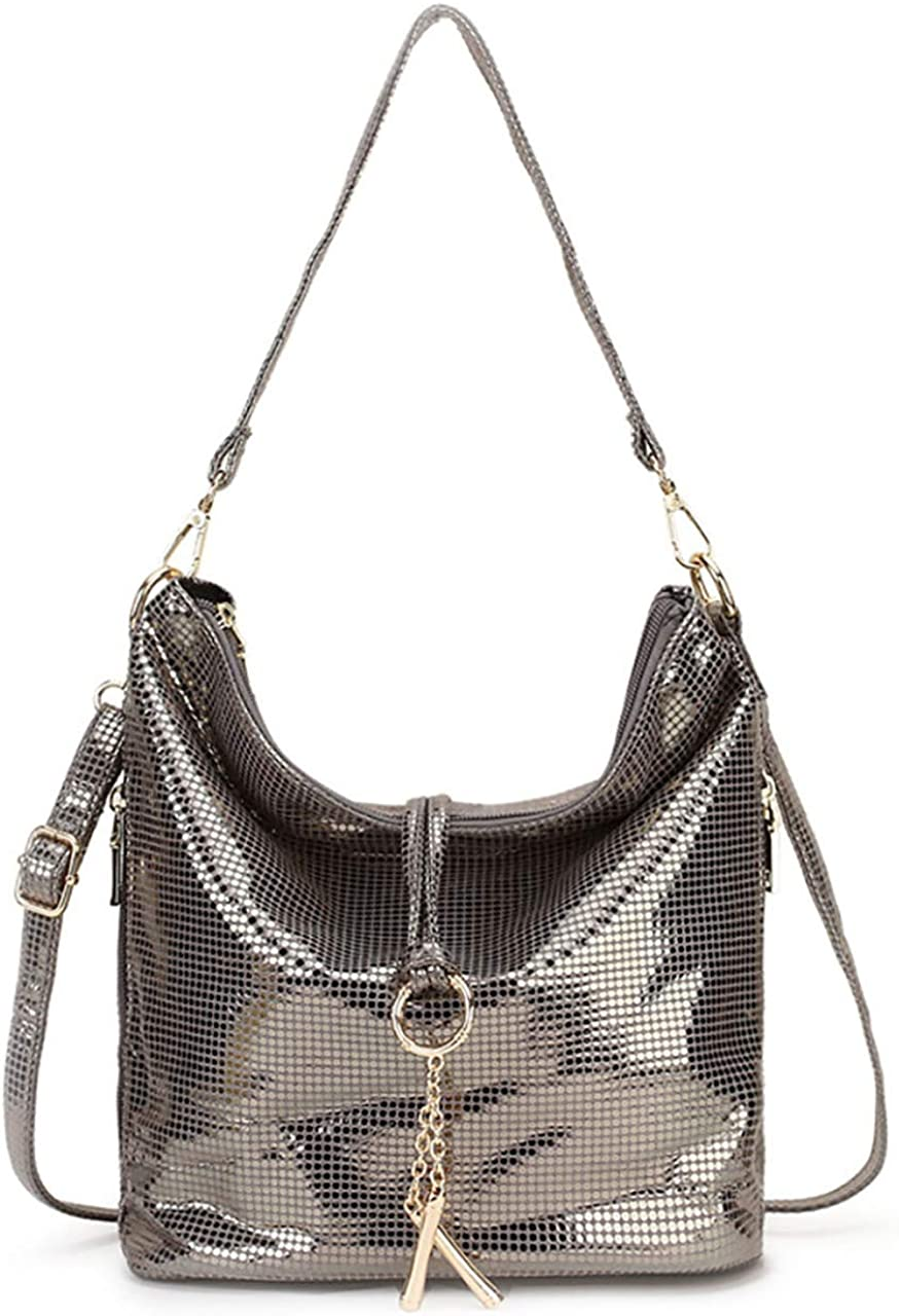 Zzfab Small All Shiny Bling Hobo with Shoulder Strap Small Crossbody bling purse