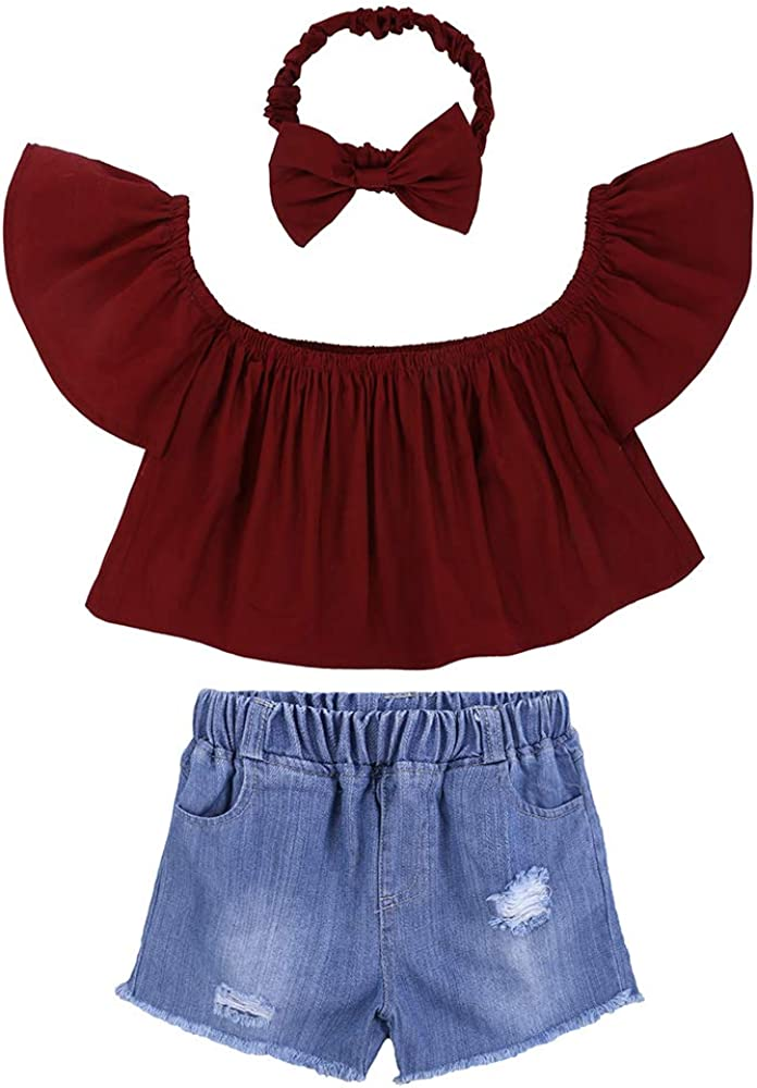 3pcs Cute Baby Girl Red Off High quality new Shoulder Hole + sale Shorts He Top Jeans+