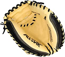 """All-Star Sports Pro Elite Leather 33.5"""" Right Handed Thrower Catchers Mitt, Tan"""