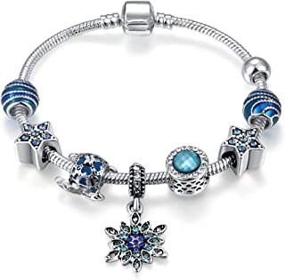 Qings Silver Plated Snake Chain with Star Shape Blue Crystal Beads Snowflake Pendant Charm Bracelet Women Jewelry Gifts 18cm