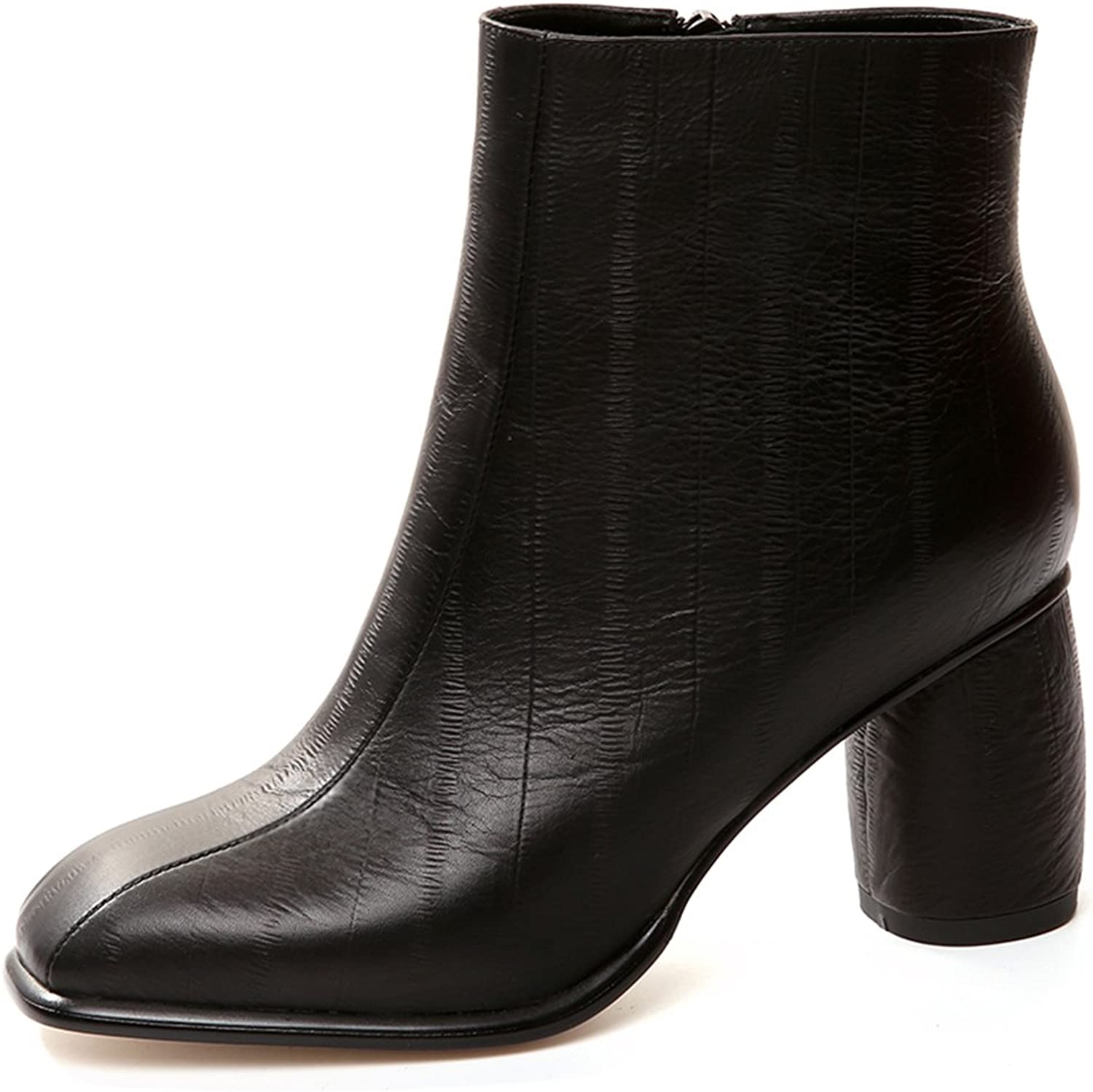 A-BUYBEA Women's Square Toe Chunky Heel Leather Ankle Boots
