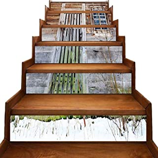Primitive Country Decor Stairs Risers Stickers Wall Neglected Old Farmhouse Rustic Wooden Door and Window Rural Landscaping Decoration Brown Green Silver W 39
