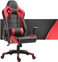 Gaming Chair Ergonomic Computer Game Chair Seat Height Adjustment Recliner Swivel Rocker E-Sports Office Chair with Headrest and Lumbar Pillow (Red/Black Without Footrest)