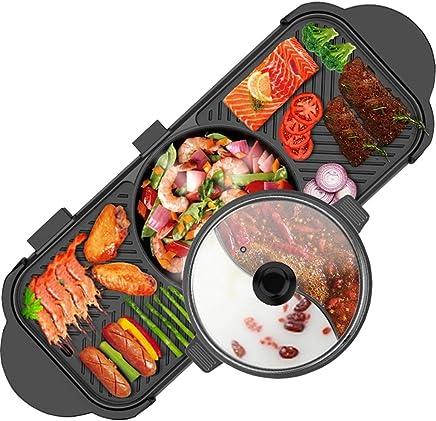 YECHUI Barbacoa de Doble Control Hot Pot Multifunción Freír y cocinar Hogar Coreano Sin Humo Antiadherente eléctrico Hot Pot Shabu-shabu Separable