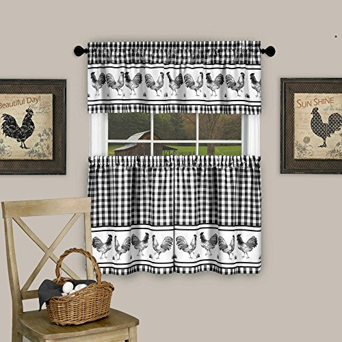 """Sweet Home Collection Barnyard Rooster Design 3 Piece Kitchen Curtain Set with Tier Pair and Valance 36"""" Black"""