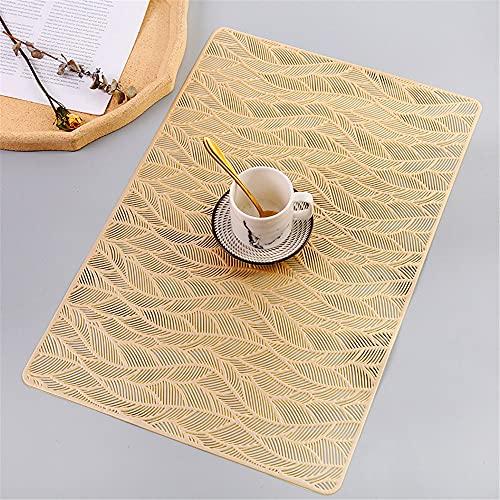 Manteles individuales,Mantel individual rectangular creativo moderno y simple, 4 piezas de tazón de fuente nórdico antideslizante resistente al calor para el hogar, dorado