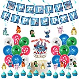 Used for Lilo and Stitch birthday party decoration, birthday banner, Cake topper, spiral ,balloon,Stitch Theme party supplies