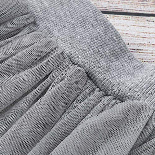 Janly Clearance Sale Conjunto de trajes para niñas de 0 a 10 años, para niñas de 5 a 6 años de edad, conejito de dibujos animados, camiseta + falda de encaje, para niños grandes de 5 a 6 años (gris)