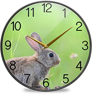 Chovy 掛け時計 サイレント 連続秒針 壁掛け時計 インテリア 置き時計 北欧 おしゃれ かわいい うさぎ 兎 绿 グリーン かわいい 可愛い 部屋装飾 子供部屋 プレゼント
