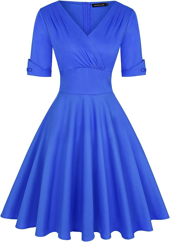 MINTLIMIT Women Vintage Retro V Neck Cocktail Party Wedding Formal Swing Dress (Royal Blue,Size L)