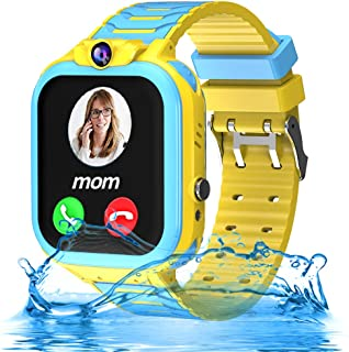 Kids Waterproof Smartwatch Phone Girls Boys with GPS Tracker 1.44'' Touch Screen Two Way Call SOS Camera Puzzle Game Love Reward SMS Notification Alarm Clock Gizmo Watch Learning Toys