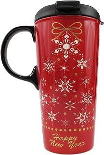 Travel Coffee Mug with Gift Box Tea Cup Ceramic 17 oz Happy New Year Snowflakes