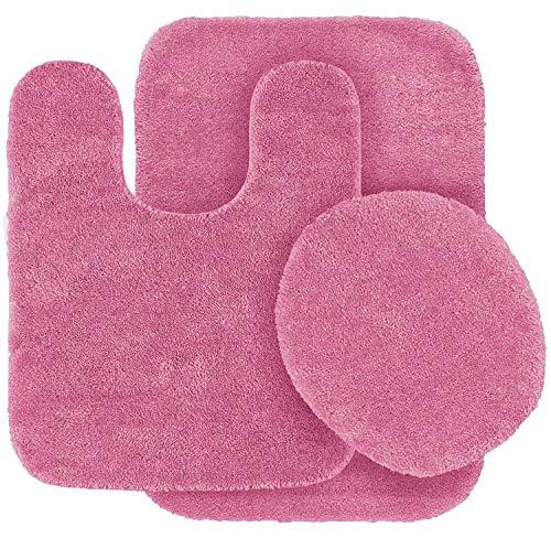 Fancy Linen 3pc Non-Slip Bath Mat Set Solid Hot Pink Bathroom U-Shaped Contour Rug, Mat and Toilet Lid Cover New #Angela