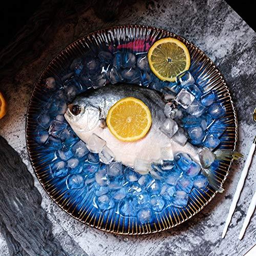 DEED Cocina Cocina Juego de Cubiertos Tazón Creativo Restaurante Plato Plato Occidental, Cocina Procesador de Alimentos Tazón Cerámica Azul Ensalada de Frutas Plato para Servir Cereales Pasta Mezcla