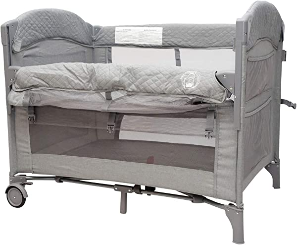 BabyWombWorld Premium 2 In 1 Co Sleeper Camp Cot Grey