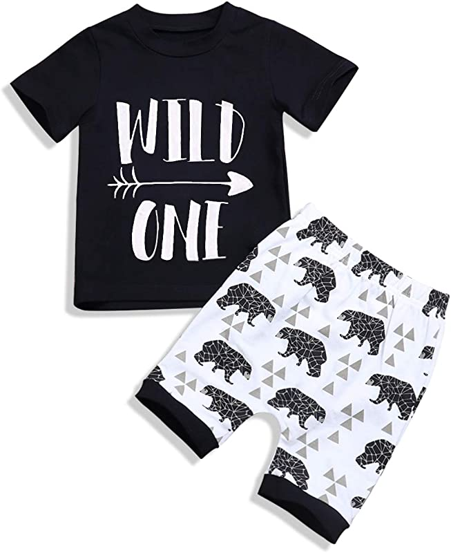 Baby Clothes Boy T Shirt Wild One Short Sleeve Bear Print Pants Toddler Infant Summer Outfit Set