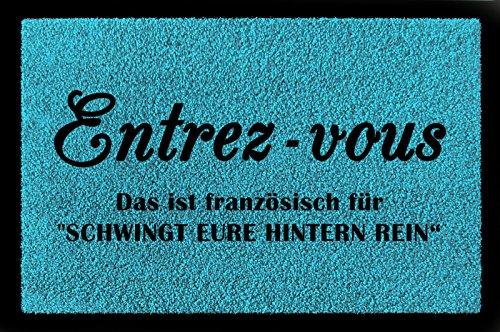 Interluxe vuilmat deurmat Entrez - Vous Grappige spreuk ingang hal woning inbouw turquoise blauw