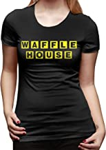 Women's Casual Cotton Cool Waffle House Graphic Tee Shirts Short Sleeve O-Neck Sports Tops and Blouses T-Shirt