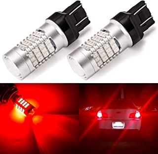 ENDPAGE 7443 7440 992 T20 LED Bulb 2-pack, Brilliant Red, Extremely Bright, 54-SMD with Projector Lens, 12-24V, Works as Brake Lights, Tail Lights, Turn Signal Blinkers
