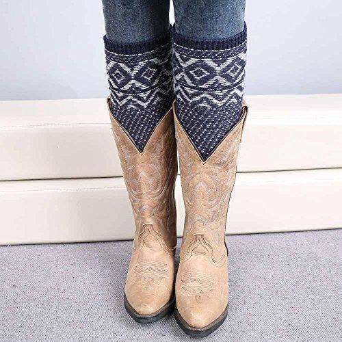 Somerl socken damen strümpfe Wadensocken Vintage Jacquard Fleece Socken Set Stiefel dicke warme Socken(Navy,Free)