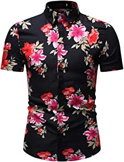 Hawaiian Shirts for Men Beach Party Holiday Camp Casual Comfy Short Sleeve Button Down T-Shirt Tops