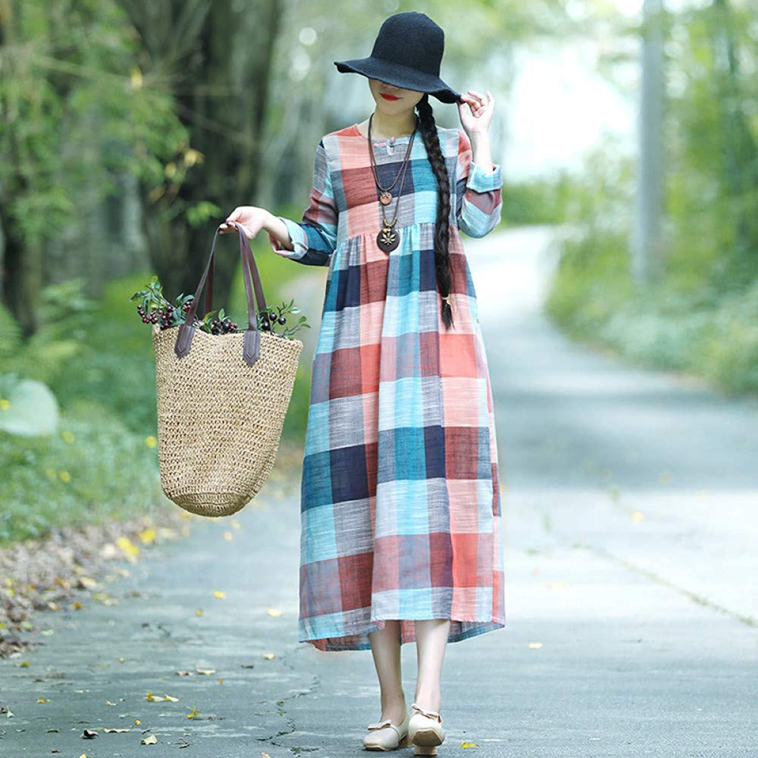 Cxlyq Dresses Early Autumn Cotton and Linen Dress Loose Slim Plaid Word Buckle Dress