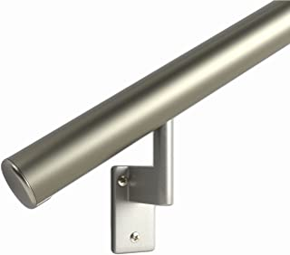 12 ft. Handrail Kit Shipped in 2 Pieces with Splice. Champagne Anodized Aluminum with 6 Matte Nickel Wall Brackets and Endcaps - 1.6